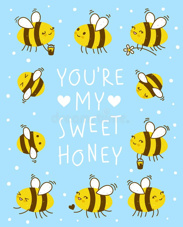 Cute honey bees frame royalty free illustration