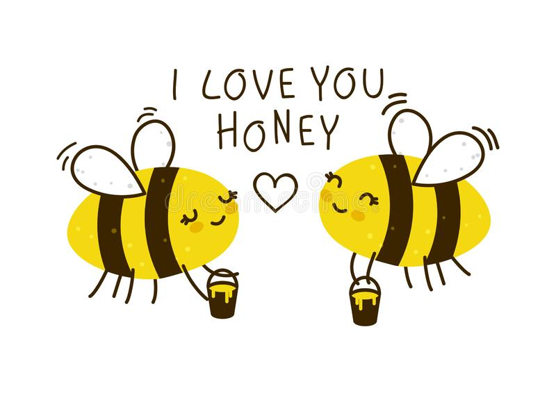 Cute honey bees isolated stock illustration