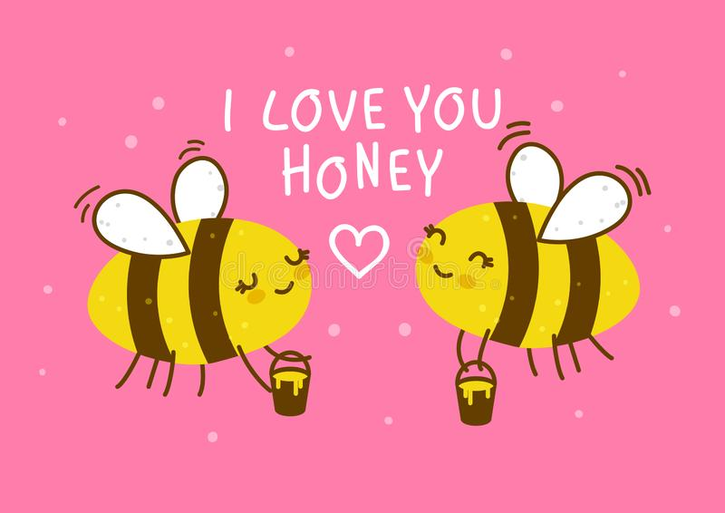 Cute honey bees on pink stock illustration