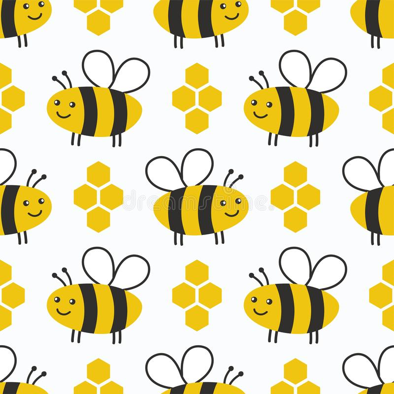 Cute honey seamless pattern. Bees kids background. royalty free illustration