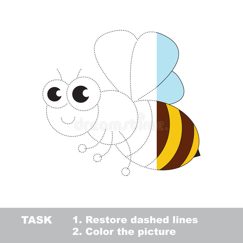 download the cute honeybee to be colored simple vector trace game stock vector - Simple Pictures To Trace