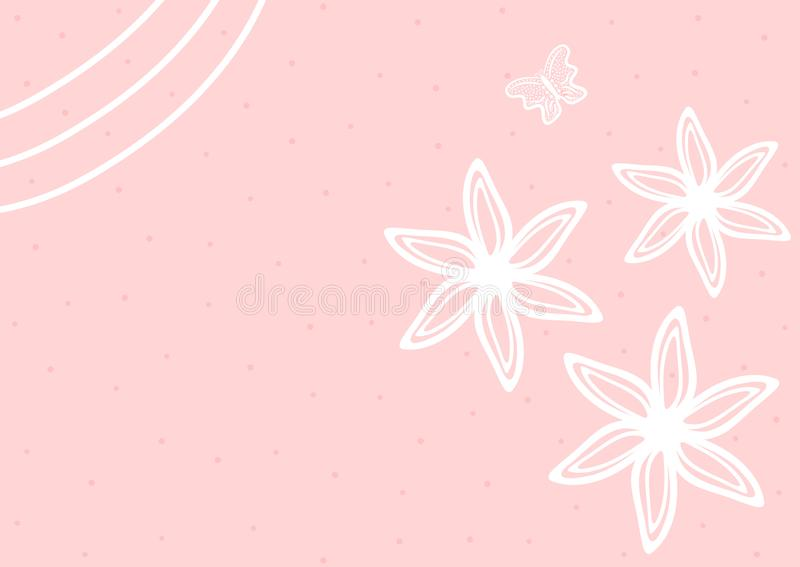 Cute horizontal background with flowers and butterfly drawn by hand. vector illustration