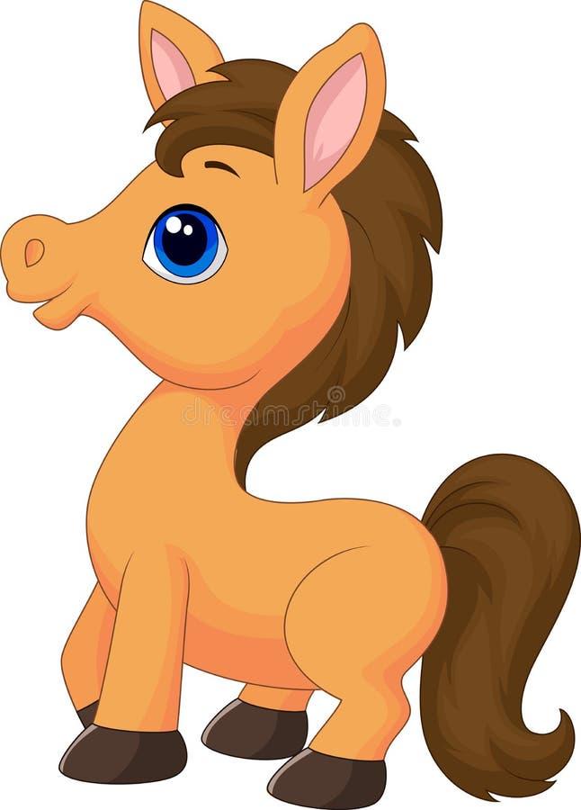 Cute horse cartoon stock vector. Illustration of happy ...
