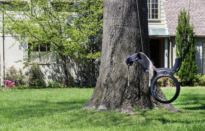 A cute horse swing made out of a rubber tire hanging from a tree in front of a painted brick house with landscaping in an upscale stock images