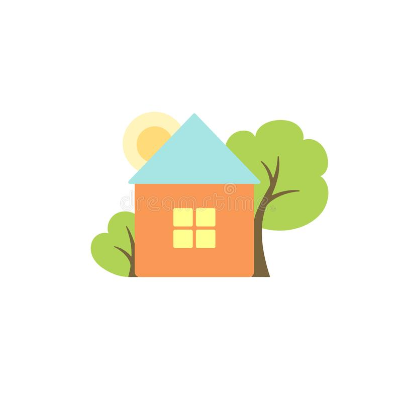 Cute house colorful flat vector illustration royalty free illustration