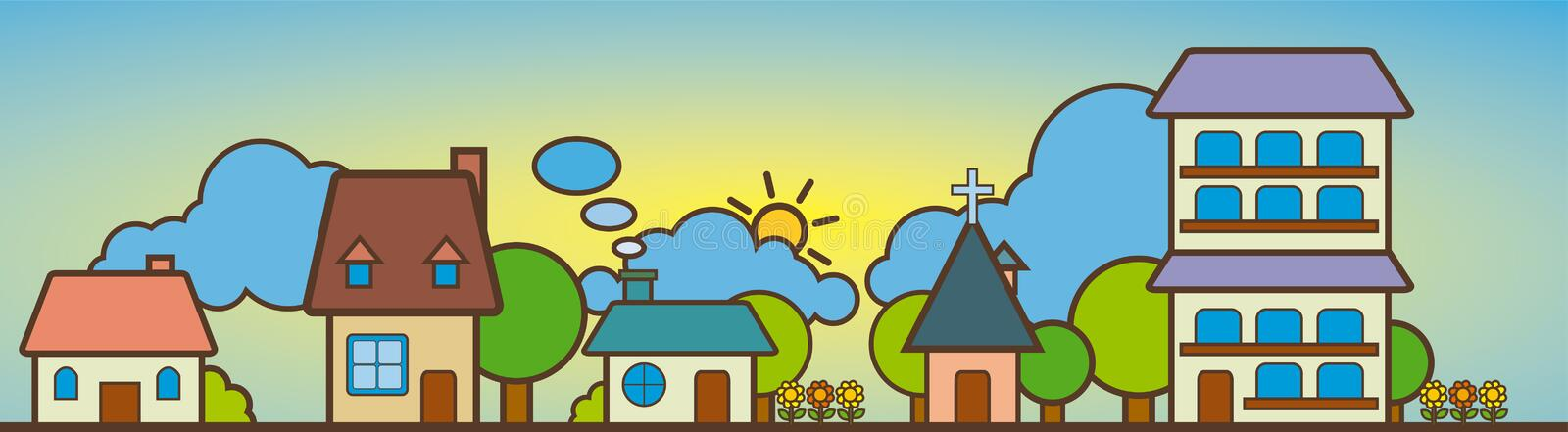 Cute House Landscape stock illustration