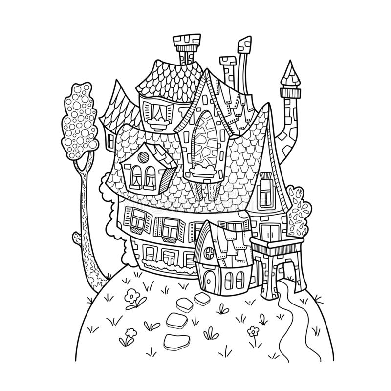 Cute house and tree black and white vector illustration for adult coloring. Vintage architecture vector illustration