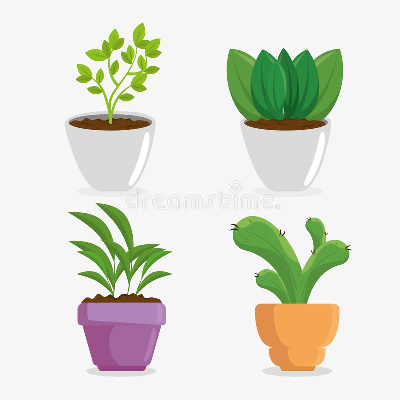 Cute houseplant in pot royalty free illustration