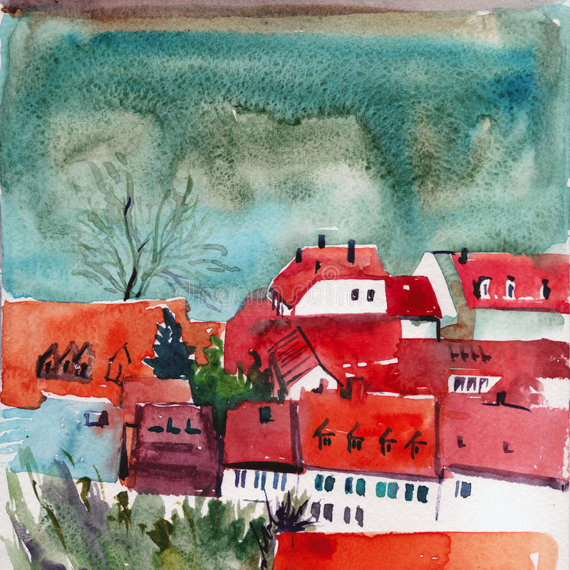 Cute houses with red roofs watercolor artwork. Watercolor painting illustration with red roofs of cute houses in narrow street. Beautiful hand drawn illustration stock illustration