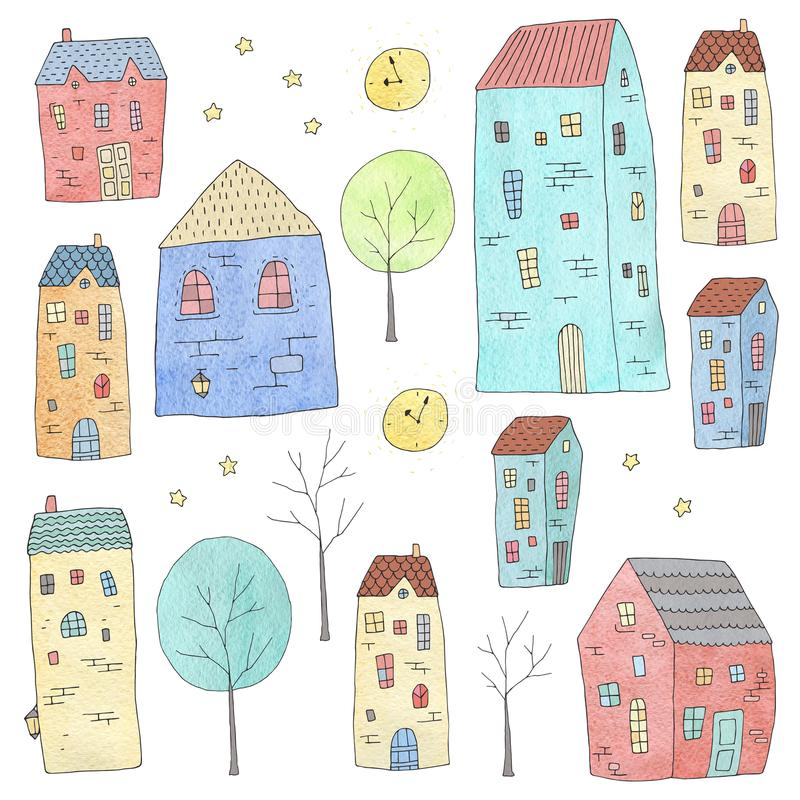 Free Cute Houses Set. Watercolor Texture Royalty Free Stock Photos - 113106038
