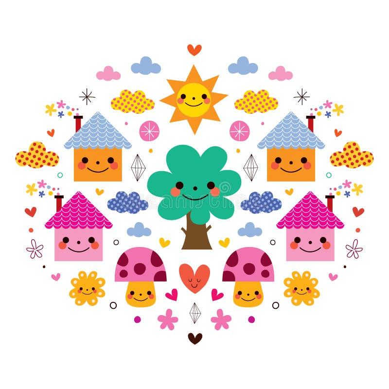 Cute houses, tree, sun, mushrooms, flowers and clouds kids cartoon vector illustration royalty free illustration