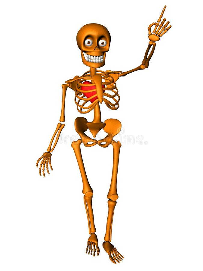 Free Cute Human Body Skeleton With Red Heart Royalty Free Stock Images - 19245749
