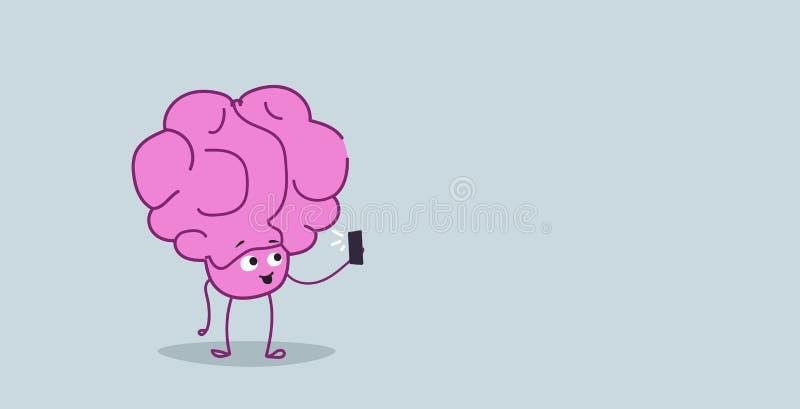 Cute human brain taking selfie photo pink cartoon character using smartphone camera kawaii sketch style horizontal. Vector illustration stock illustration