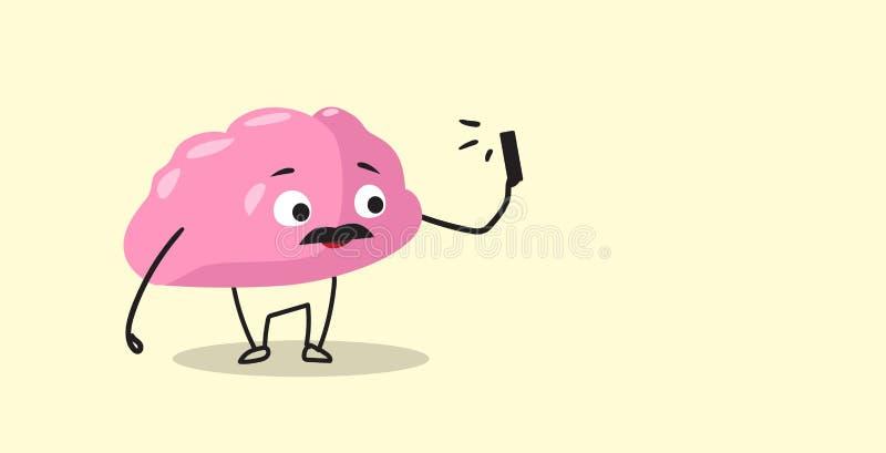 Cute human brain taking selfie photo pink cartoon character using smartphone camera kawaii style horizontal. Vector illustration vector illustration