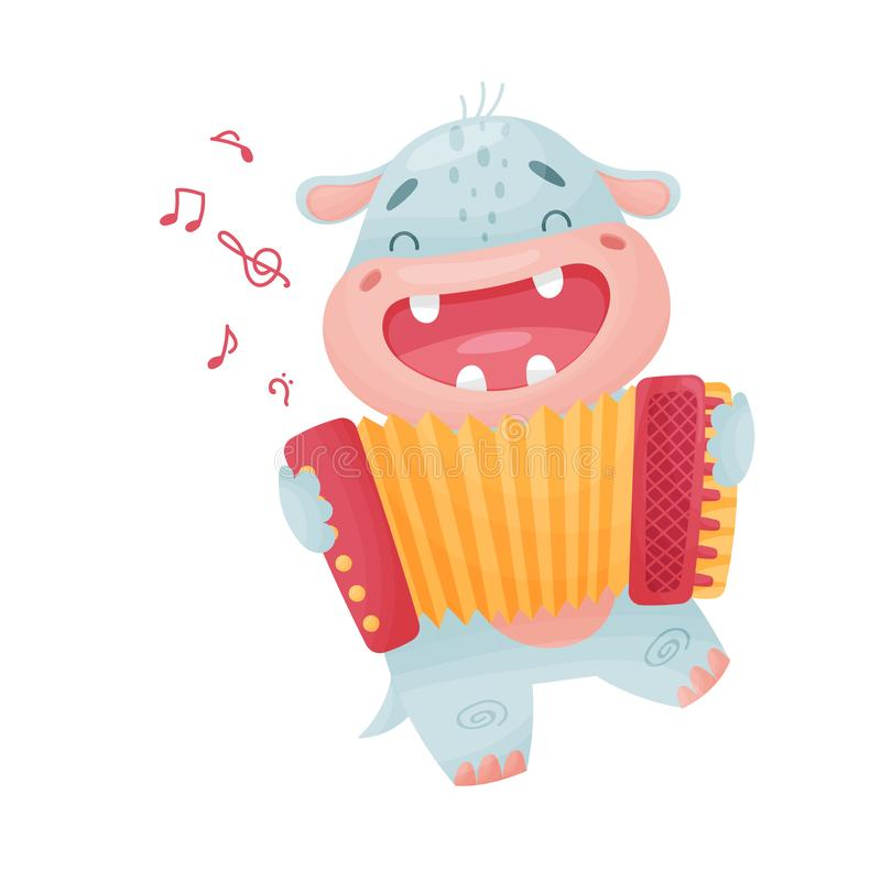 Cute hippo with accordion. Vector illustration on white background. Cute humanized hippopotamus plays the accordion. Vector illustration on white background royalty free illustration