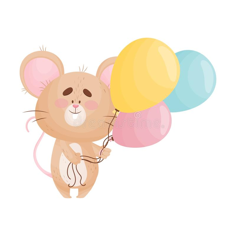 Cartoon mouse holds balloons. Vector illustration On White Background. Cute humanized little mouse is holding a bunch of colorful balloons. Vector illustration vector illustration