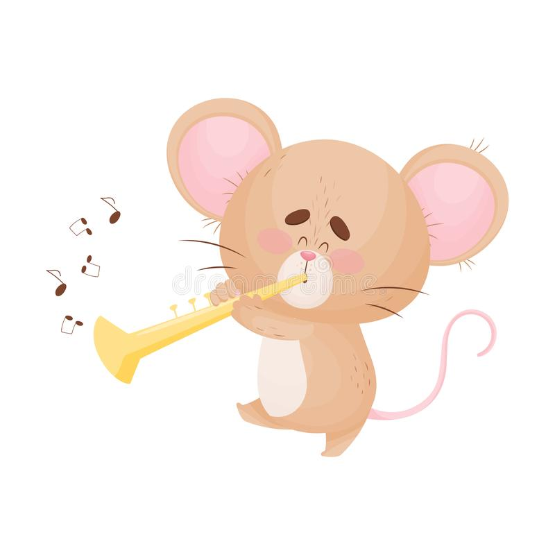 Cartoon mouse playing the pipe. Vector illustration. Cute humanized mouse plays on a golden trumpet. Music notes fly around. Vector illustration royalty free illustration