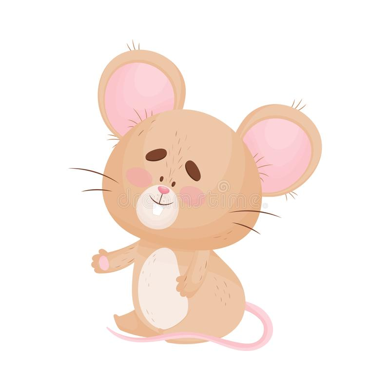Cartoon mouse sits with arms apart. Vector illustration. Cute humanized mouse sits with arms apart. Vector illustration royalty free illustration