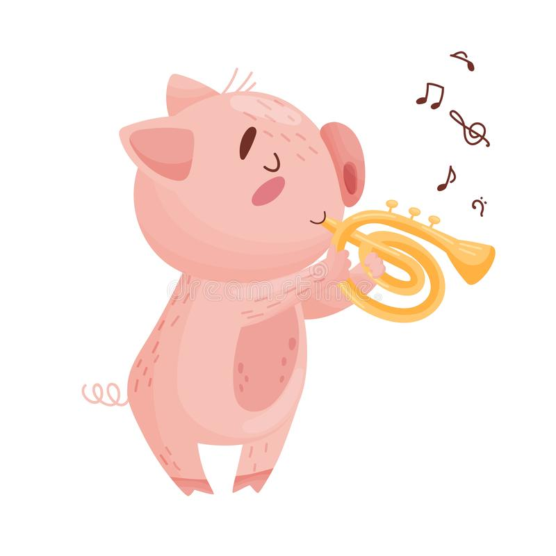 Cute pig with a pipe. Vector illustration on white background. stock illustration