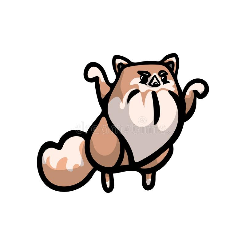 Cute hungry spitz japan dog brown color vector illustration