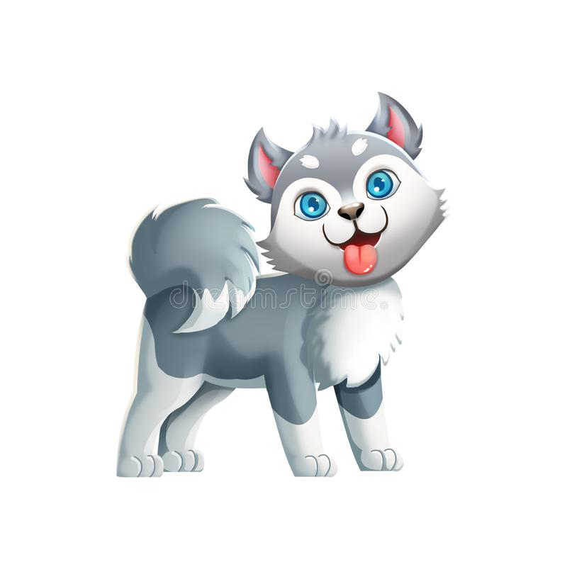 Free Cute Husky Dog! Video Game`s Digital CG Artwork Royalty Free Stock Photo - 108305295