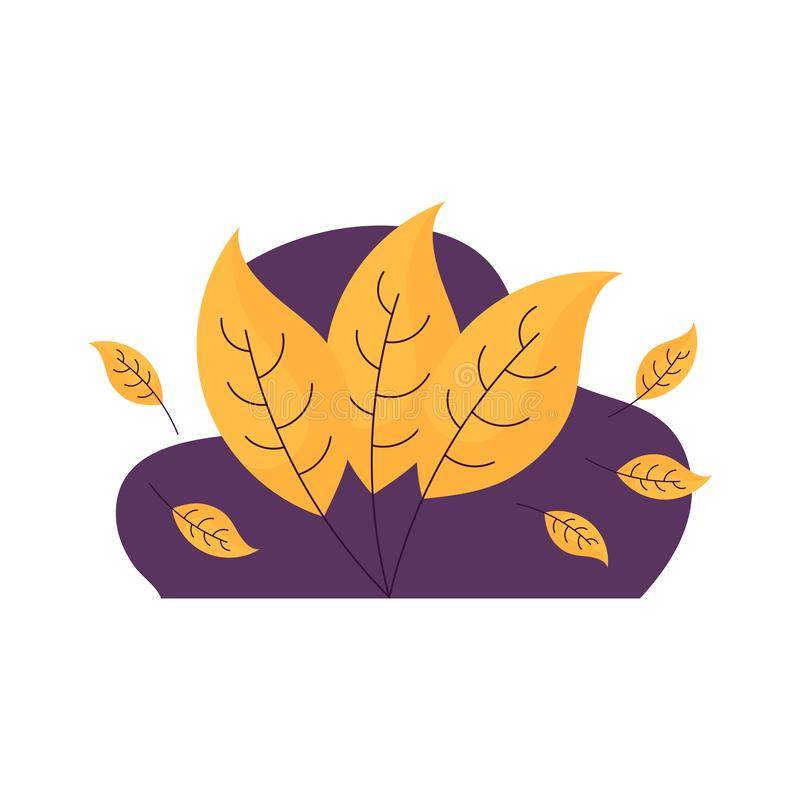 Poster template with hygge autumn leaves. Cute hygge poster template with yellow autumn leaves and violet blob. White background. Flat style illustration. Vector royalty free illustration