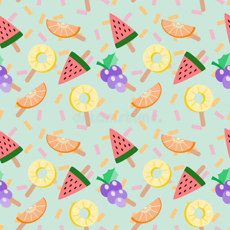 Cute ice-cream tropical fruits vector illustration. Tropical fruits seamless pattern. Summer and freshness concept. stock illustration