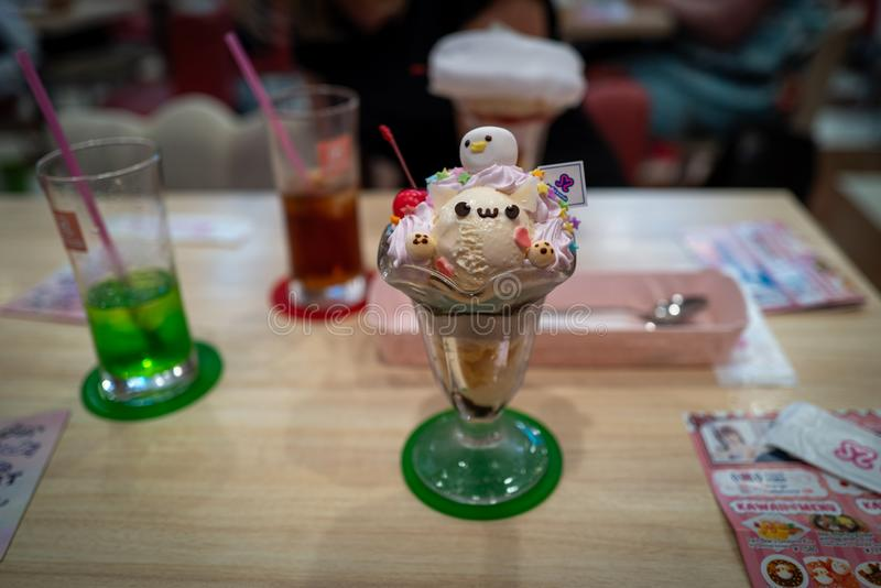 Cute icecream in a maid cafe in Tokyo. Japan royalty free stock photography