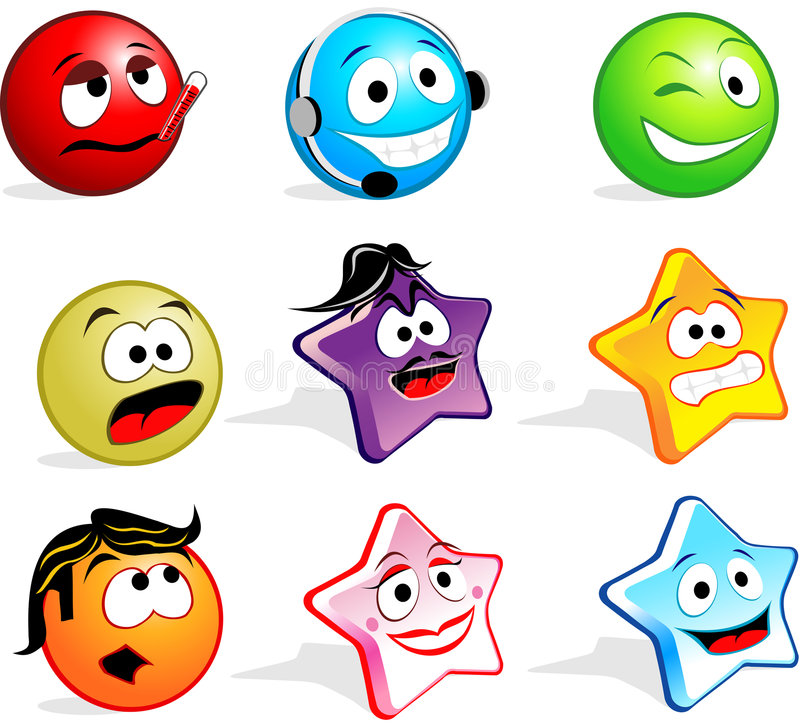 Cute Icon Faces royalty free illustration