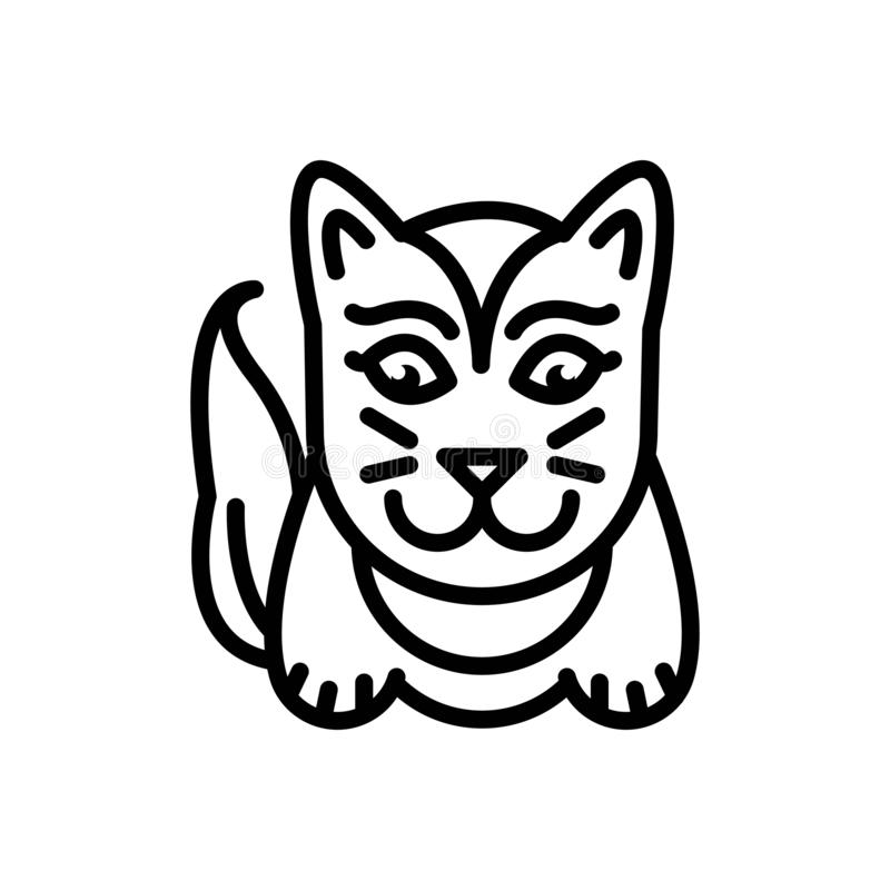Black line icon for Cute, lovable and sweet. Black line icon for  cute, charming, likable, cat, logo,  lovable and sweet stock illustration