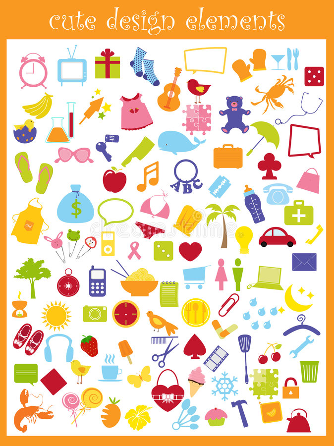 Cute icons stock illustration
