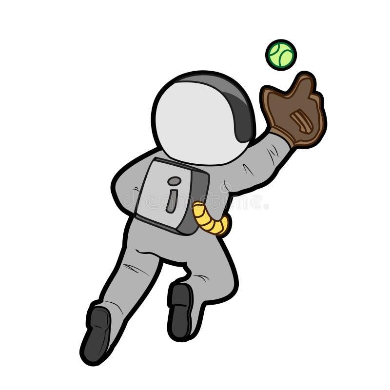 Astronaut playing sports cartoon character illustration royalty free illustration