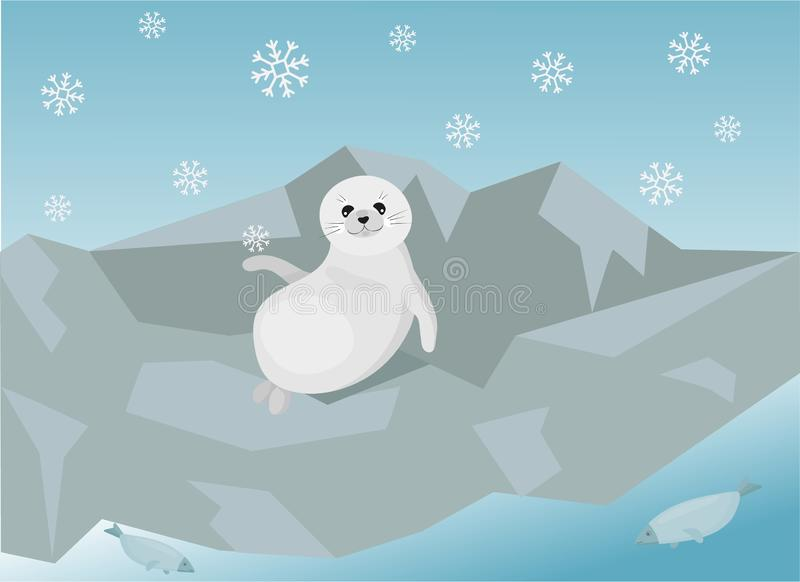 Cute illustration of the baikal seal nerpa. Cute illustration of the baikal seal nerpa, which is chill out on the bank of the lake. Vector illustration royalty free illustration