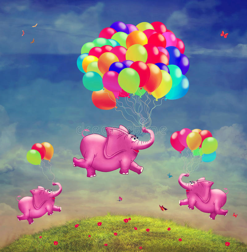 Cute illustration of flying elephants with balloons vector illustration