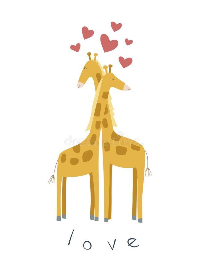 Cute illustration of giraffes in love stock illustration