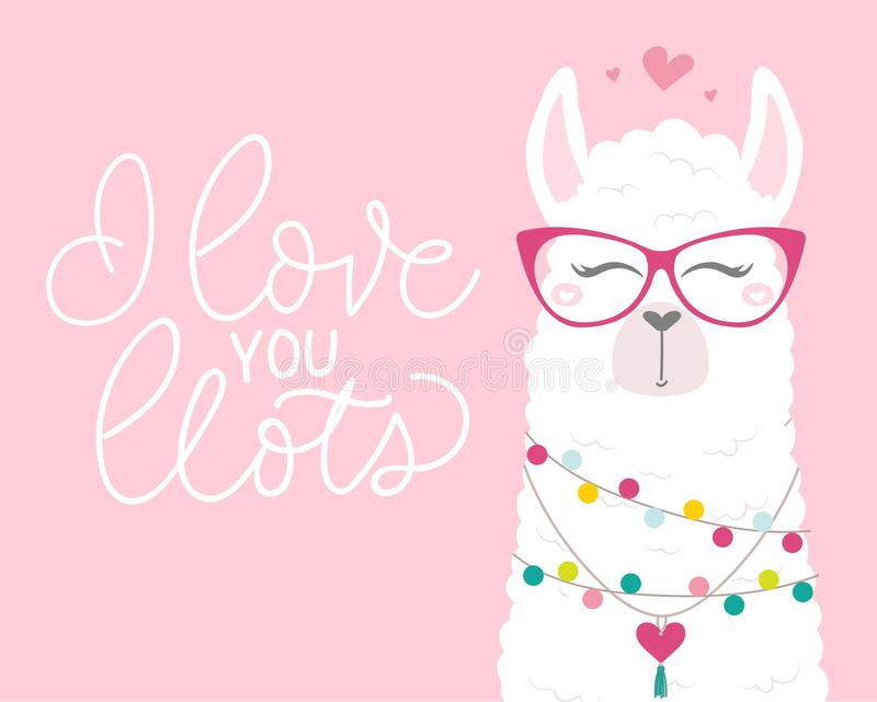 Cute illustration with llama in love, doodles and lettering inscription stock illustration