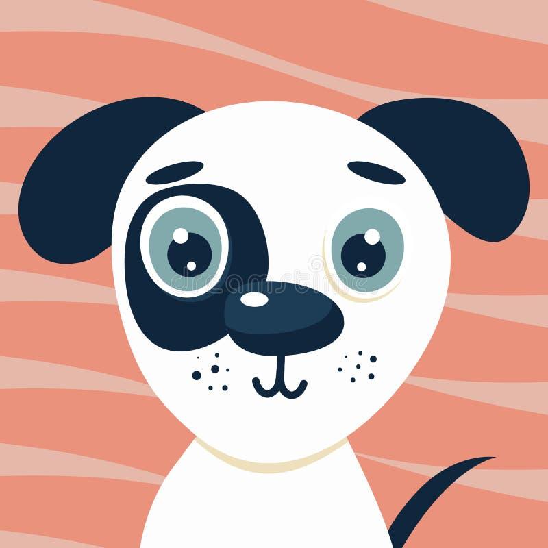 Cute illustrazioni di cuccioli per bambini Nursery, cane simpatico Carattere per la stampa su sfondo rosa illustrazione di stock