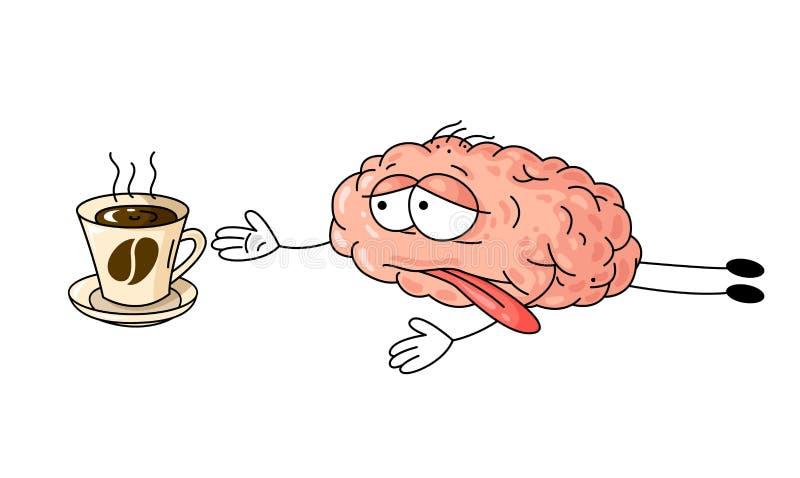 Cute illustrerar människans trötta hjärna som kryper till en kopp kaffe royaltyfri illustrationer