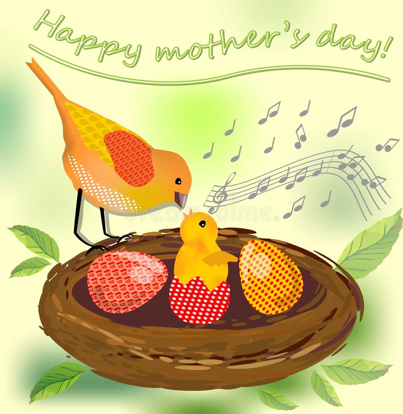 Cute image mothers day, vector image with bird mother and her bird baby and colored eggs in the nest vector illustration