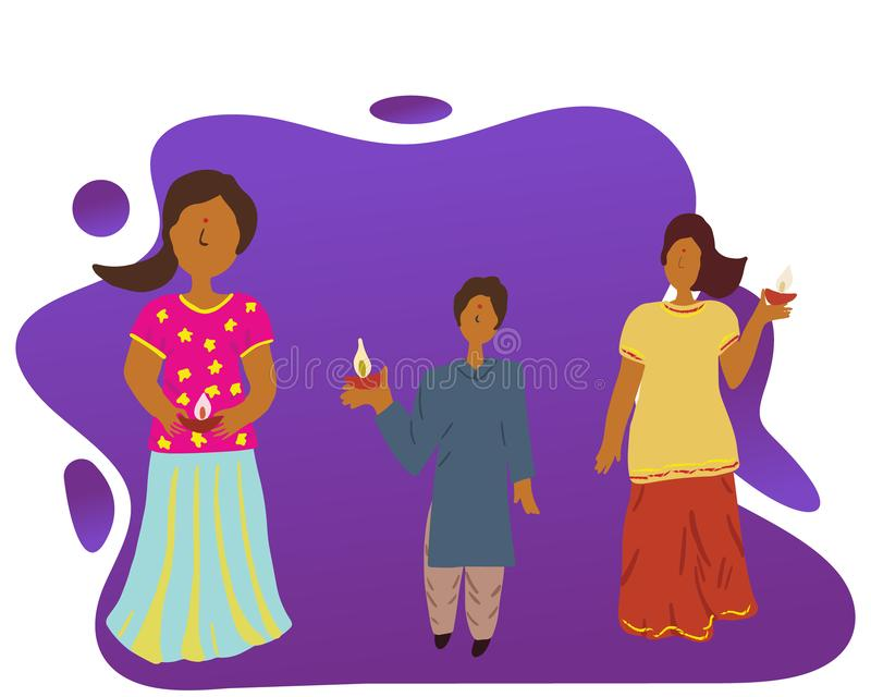 Cute indian kids celebrating Diwali stock illustration