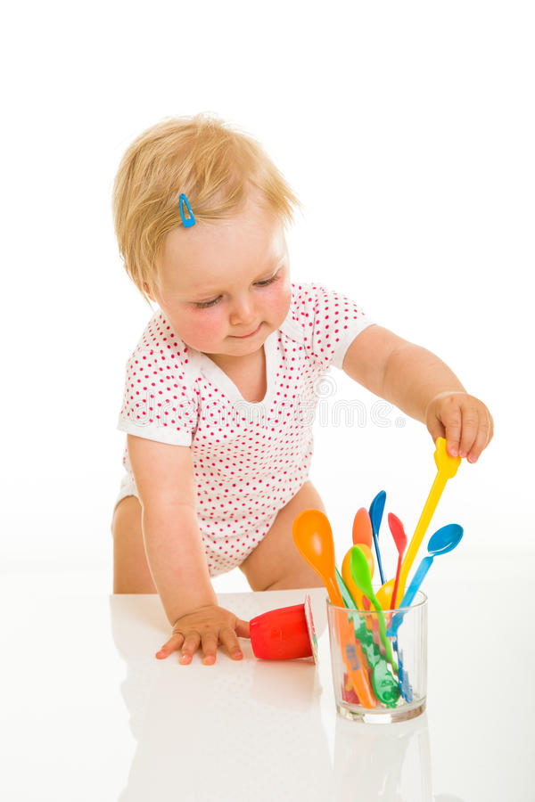 Download Cute Infant Girl Learining To Eat Stock Photo - Image of meal, child: 26365050