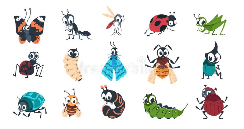 Cute insects. Cartoon funny colorful bugs bees hornet butterfly caterpillar spider with cute faces for vector children stock illustration