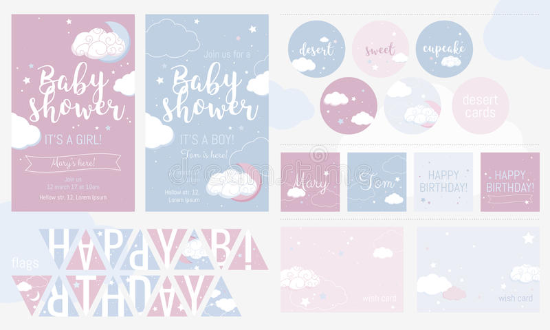 Cute invitation cards for baby shower and birthday party. vector illustration