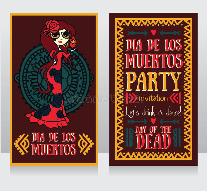 Cute Invitation Cards For Dia De Los Muertos Stock Vector - Day of the dead party invitation template