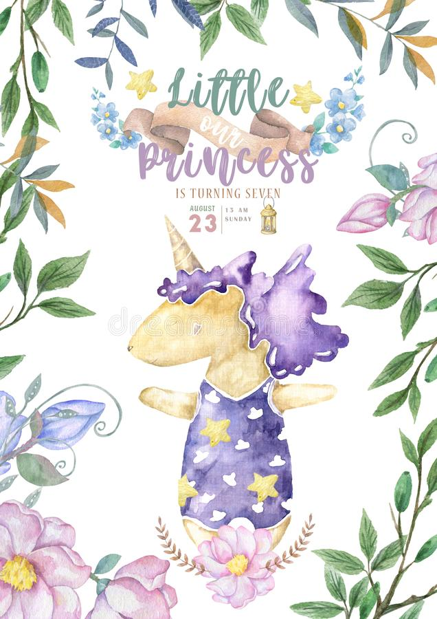 Cute invitations for baby shower with cute unicorn, It`s a girl cards, can be used as template for girl`s birthday party. Invitations for baby shower with cute stock photo