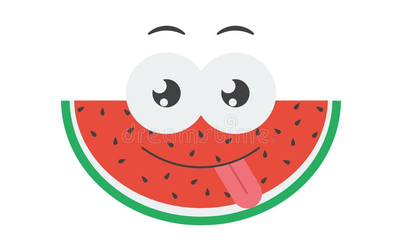 Cute isolated vector doodle hand drawn color illustration of watermelon slice, cartoon character. Cute isolated vector doodle hand drawn color illustration of royalty free illustration
