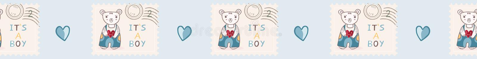 Cute its a boy teddy bear postage stamp seamless vector border vector illustration