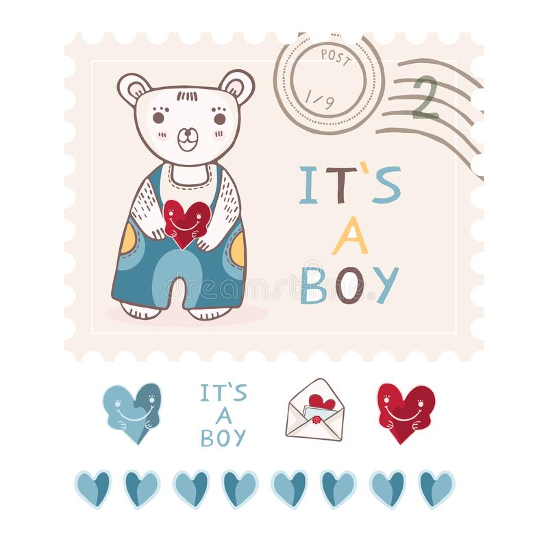 Cute its a boy teddy bear postage stamp vector elements set vector illustration
