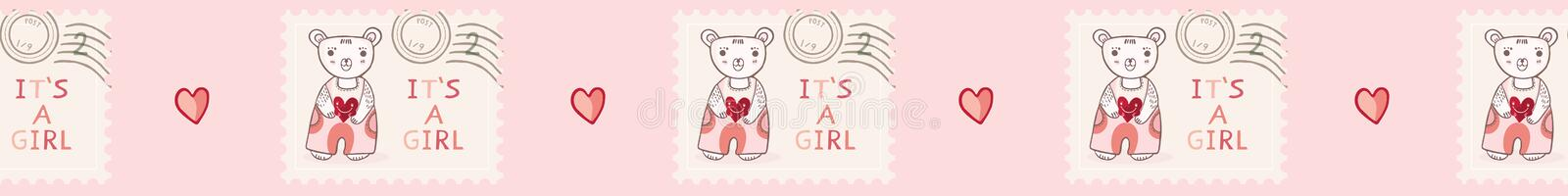 Cute its a girl teddy bear postage stamp seamless vector border stock illustration