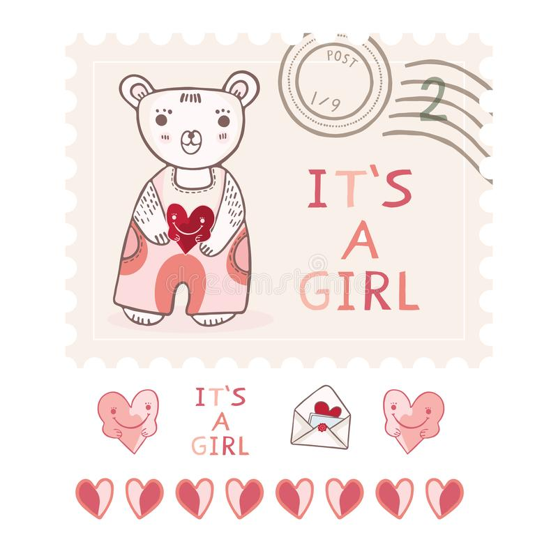 Cute its a girl teddy bear postage stamp vector elements set stock illustration